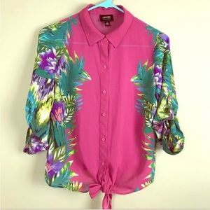 Nicole By Nicole Miller Tie-Front Tropical Blouse